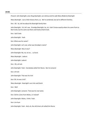 Transcript of Oral History Interview with John Boatright, August 12 2012