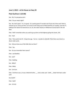 Transcript of Oral History Interview with Pete Kaufman, June 5 2012