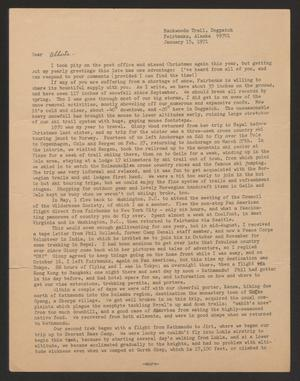 Primary view of object titled '[Letter from Celia Hunter to Alberta Head, January 15, 1971]'.