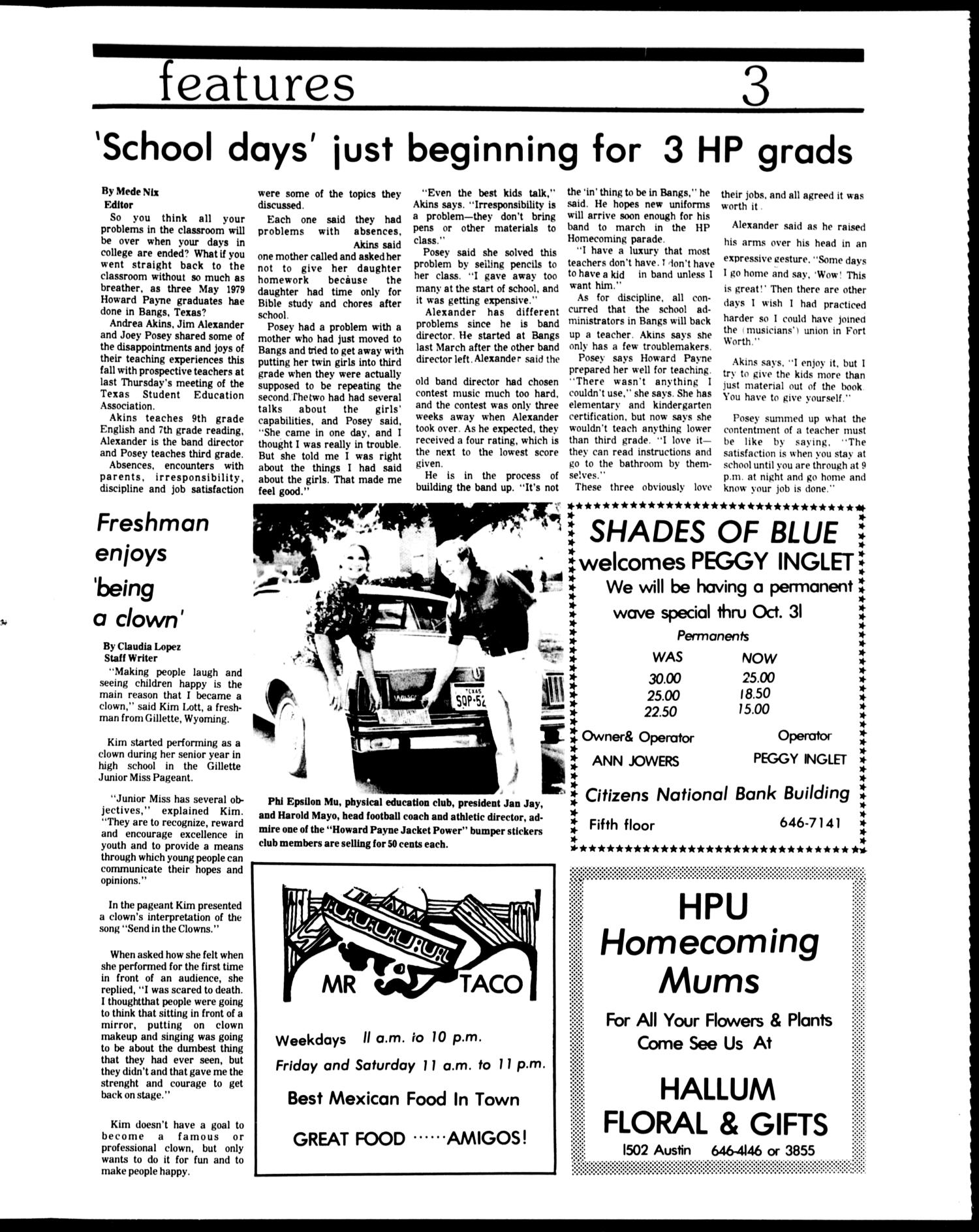 The Howard Payne University Yellow Jacket (Brownwood, Tex.), Vol. 67, No. 7, Ed. 1, Friday, October 19, 1979                                                                                                      [Sequence #]: 3 of 4