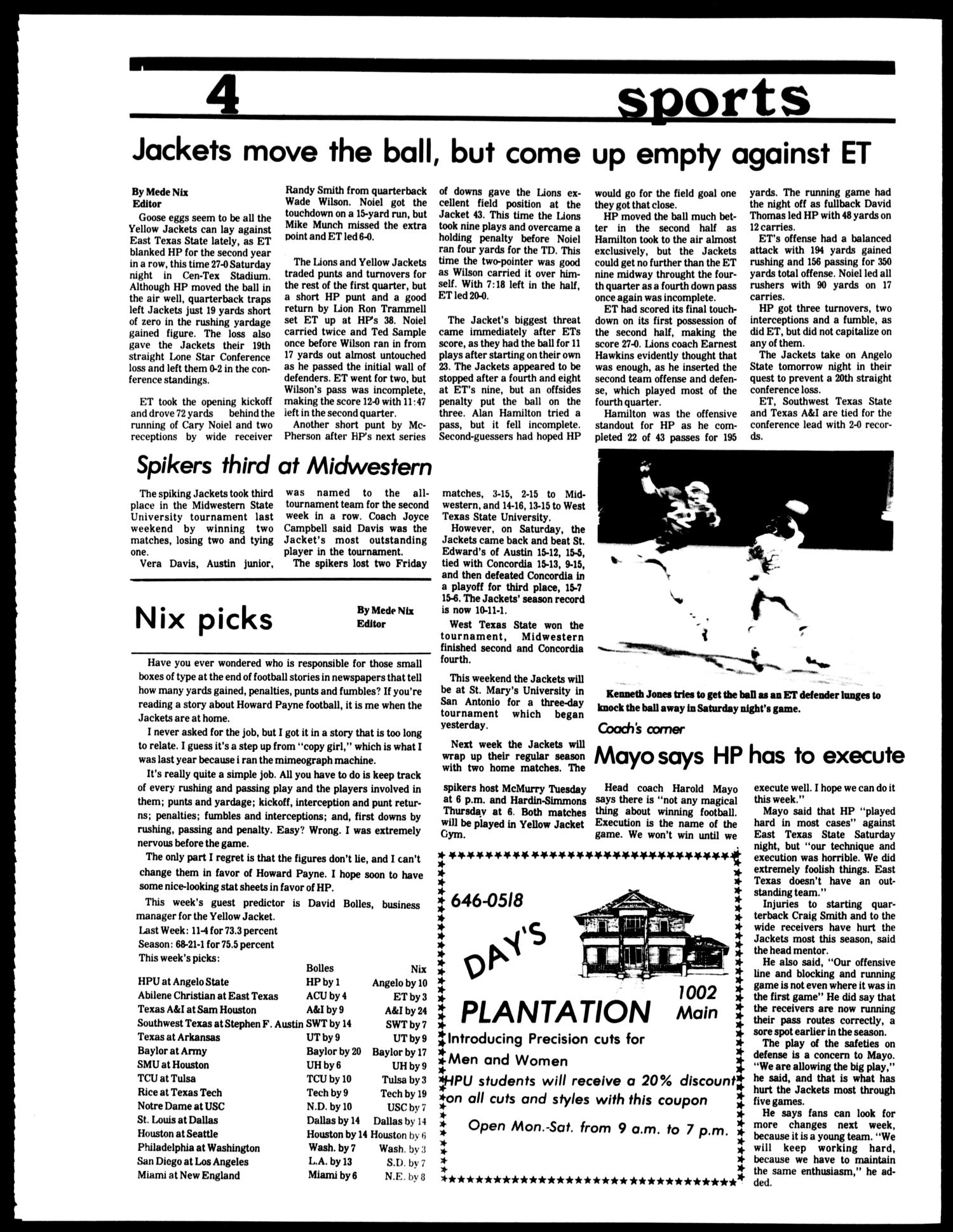 The Howard Payne University Yellow Jacket (Brownwood, Tex.), Vol. 67, No. 7, Ed. 1, Friday, October 19, 1979                                                                                                      [Sequence #]: 4 of 4