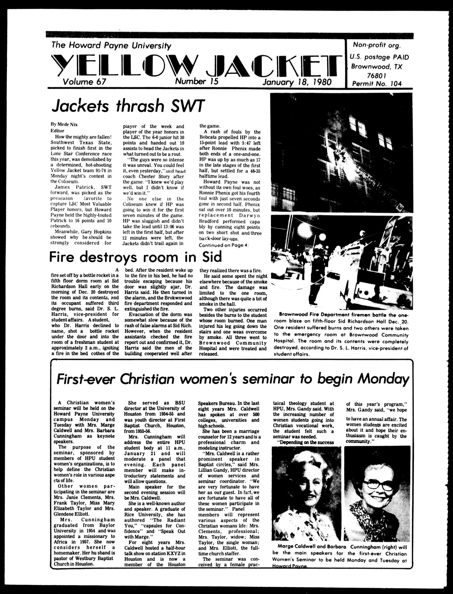The Howard Payne University Yellow Jacket (Brownwood, Tex.), Vol. 67, No. 15, Ed. 1, Friday, January 18, 1980                                                                                                      [Sequence #]: 1 of 4