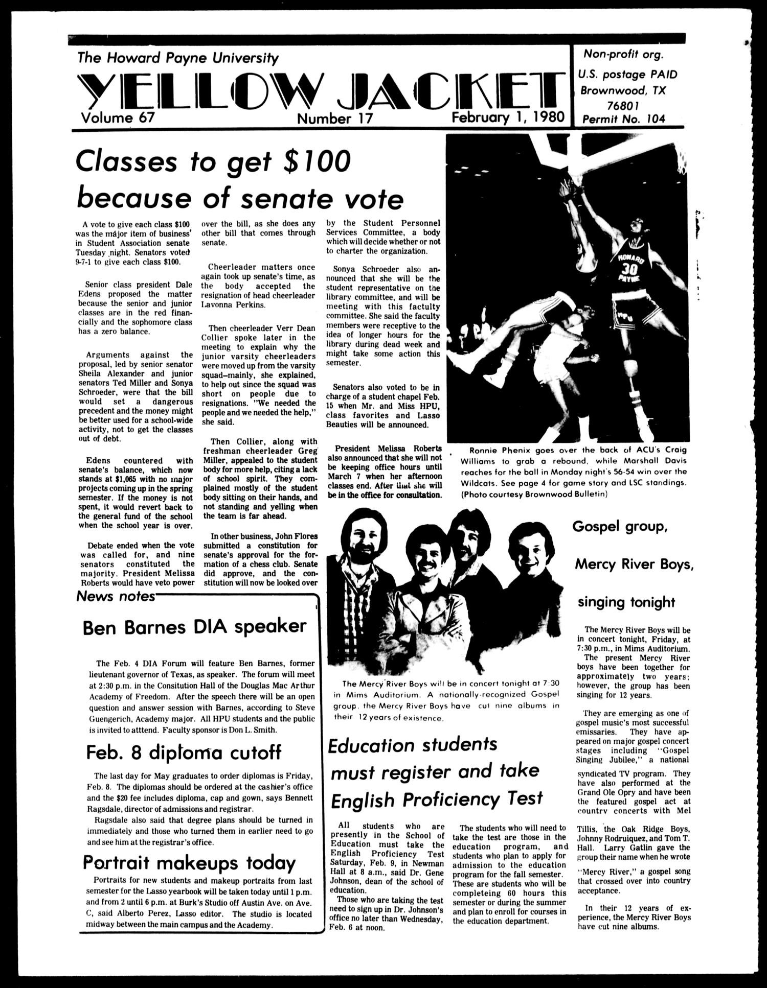 The Howard Payne University Yellow Jacket (Brownwood, Tex.), Vol. 67, No. 17, Ed. 1, Friday, February 1, 1980                                                                                                      [Sequence #]: 1 of 4