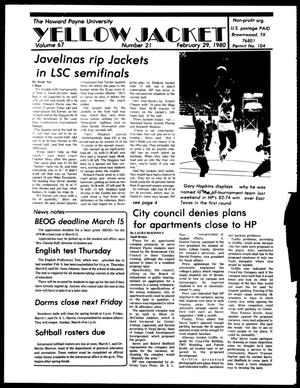 Primary view of object titled 'The Howard Payne University Yellow Jacket (Brownwood, Tex.), Vol. 67, No. 21, Ed. 1, Friday, February 29, 1980'.