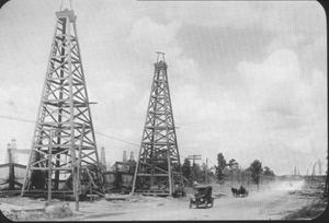 Primary view of object titled '[Two oil derricks]'.
