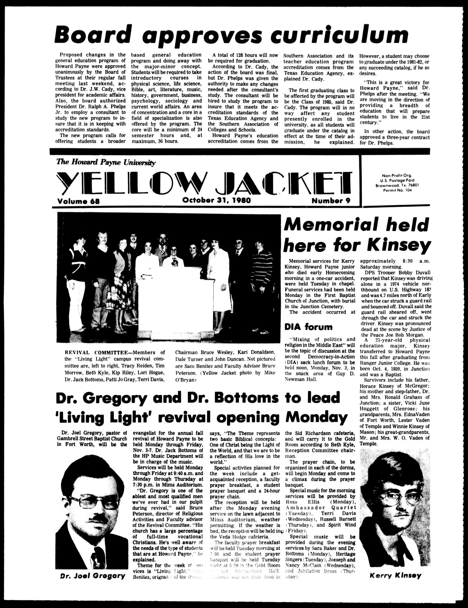 The Howard Payne University Yellow Jacket (Brownwood, Tex.), Vol. 68, No. 9, Ed. 1, Friday, October 31, 1980                                                                                                      [Sequence #]: 1 of 4