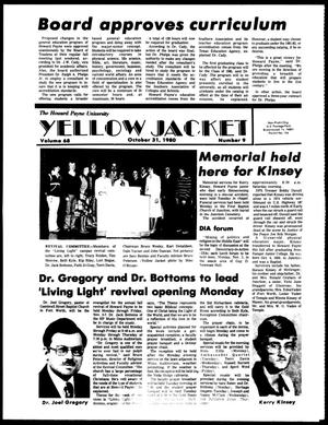 Primary view of object titled 'The Howard Payne University Yellow Jacket (Brownwood, Tex.), Vol. 68, No. 9, Ed. 1, Friday, October 31, 1980'.