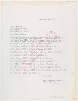 Primary view of object titled '[Letter from Henri Pepper to Joann Staulcup, September 25, 1987]'.