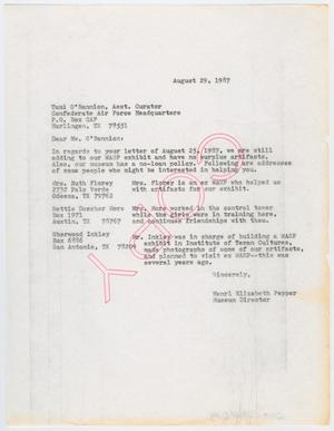 Primary view of object titled '[Letter from Henri Pepper to Tami O'Bannion, August 29, 1987]'.