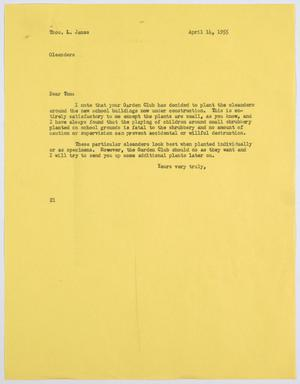 Primary view of [Letter from D. W. Kempner to Thos. L. James, April 14, 1955]