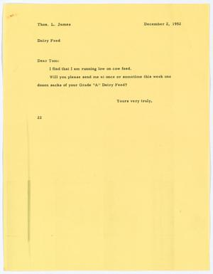 [Letter from D. W. Kempner to Thos. L. James, December 2, 1952]