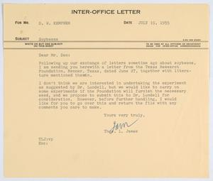 Primary view of object titled '[Letter from T. L. James to D. W. Kempner, July 19, 1955]'.