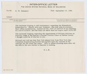 Primary view of object titled '[Letter from Robert Lee Kempner to D. W. Kempner, September 17, 1954]'.