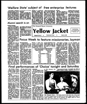 Primary view of object titled 'The Howard Payne University Yellow Jacket (Brownwood, Tex.), Vol. 70, No. 18, Ed. 1, Friday, March 4, 1983'.