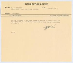 Primary view of object titled '[Letter from Thos. L. James to D. W. Kempner, August 21, 1953]'.