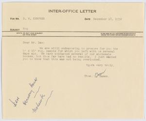 [Letter from Thos. L. James to D. W. Kempner, December 18, 1952]