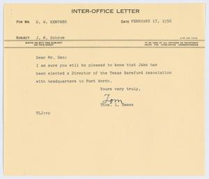 Primary view of object titled '[Letter from Thos. L. James to D. W. Kempner, February 17, 1956]'.