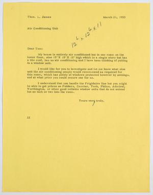 Primary view of [Letter from D. W. Kempner to Thos. L. James, March 21, 1955]
