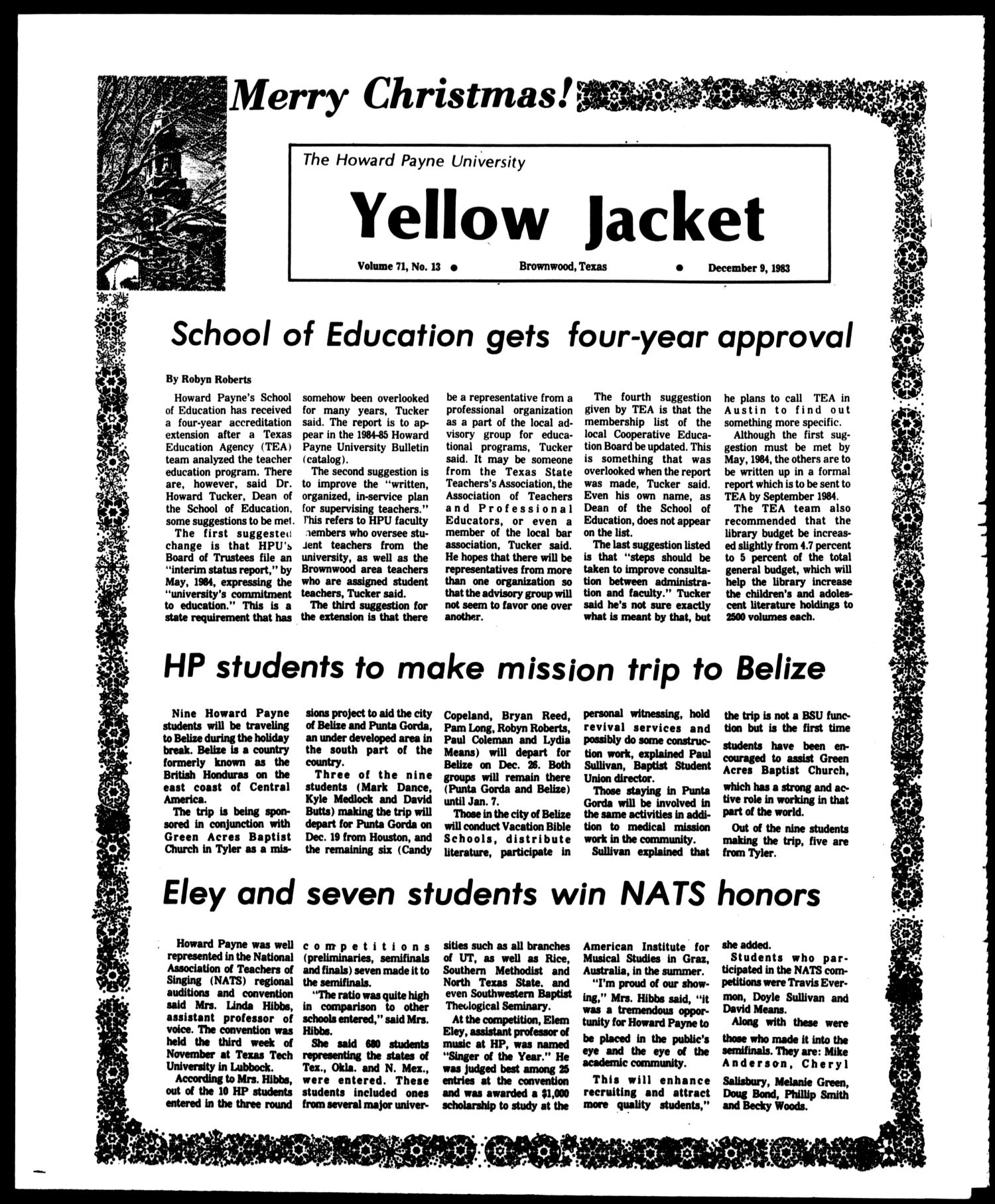 The Howard Payne University Yellow Jacket (Brownwood, Tex.), Vol. 71, No. 13, Ed. 1, Friday, December 9, 1983                                                                                                      [Sequence #]: 1 of 4