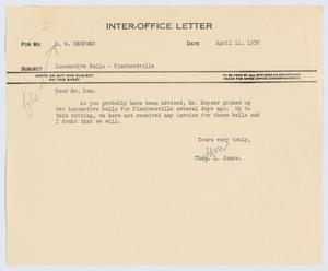 Primary view of object titled '[Letter from Thos. L. James to D. W. Kempner, April 11, 1952]'.