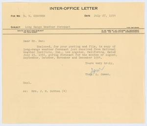Primary view of object titled '[Letter from Thos. L. James to D. W. Kempner, July 27, 1954]'.