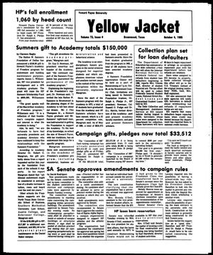 Primary view of object titled 'The Howard Payne University Yellow Jacket (Brownwood, Tex.), Vol. 73, No. 4, Ed. 1, Friday, October 4, 1985'.