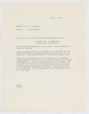 Primary view of object titled '[Letter from R. Lee Kempner to D. W. Kempner, July 17, 1953]'.