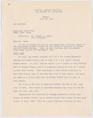 Letter from William H. Rempel to Thomas L. James, June 23, 1952