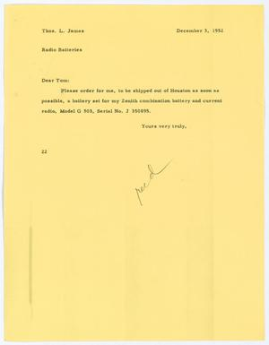 [Letter from D. W. Kempner to Thos. L. James, December 3, 1952]