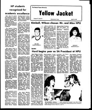 Primary view of object titled 'The Howard Payne University Yellow Jacket (Brownwood, Tex.), Vol. 74, No. 23, Ed. 1, Friday, April 24, 1987'.