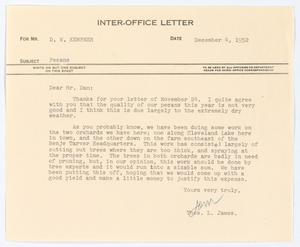 [Letter from Thos. L. James to D. W. Kempner, December 4, 1952]