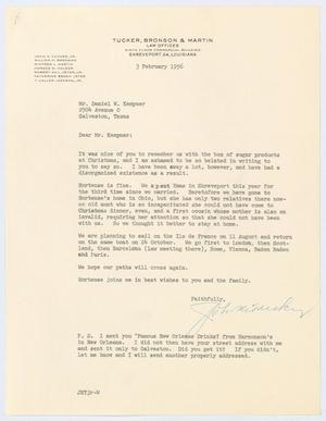 Primary view of object titled '[Letter from Judge John H. Tucker, Jr., to D. W. Kempner, February 3, 1956]'.