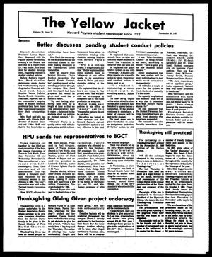 Primary view of object titled 'The Yellow Jacket (Brownwood, Tex.), Vol. 75, No. 10, Ed. 1, Friday, November 20, 1987'.