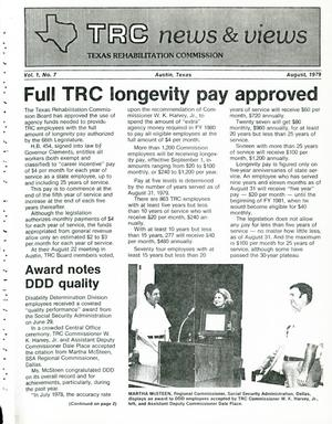Primary view of object titled 'TRC News & Views, Volume 1, Number 7, August 1979'.