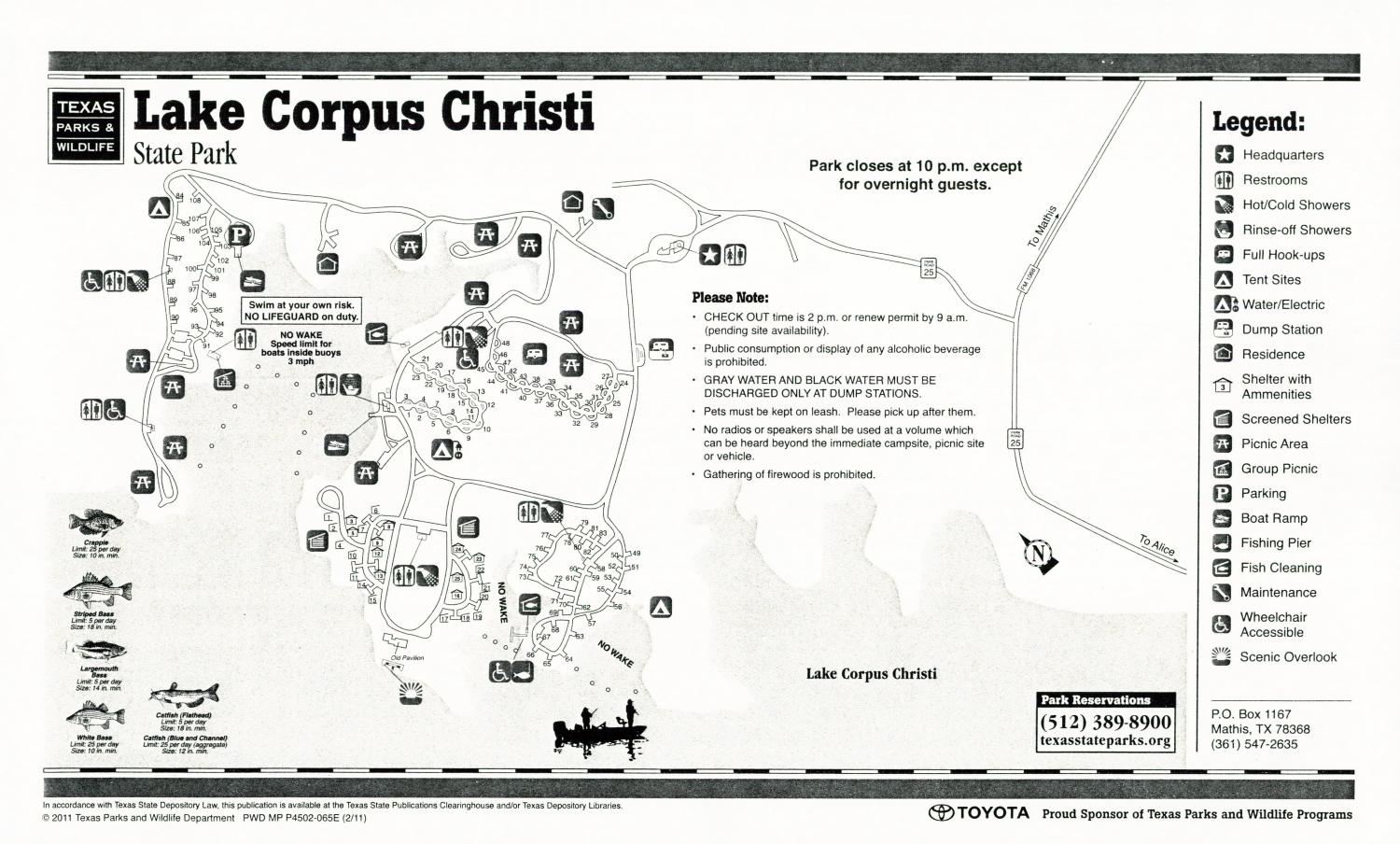 Lake Corpus Christi State Park, Map of the Lake Corpus Christi State Park outlining hiking trails and highlighting activities, facilities, and other features such as bathrooms, lodgings, water/electric, etc. It also contains general information for the park and for the Texas Parks and Wildlife Department.,