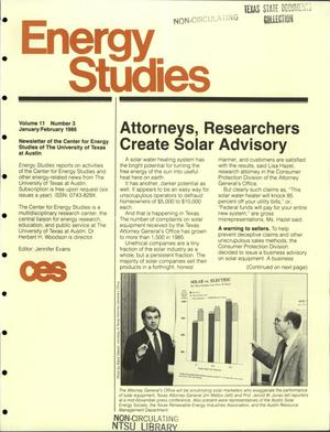 Primary view of object titled 'Energy Studies, Volume 11, Number 3, January/February 1986'.