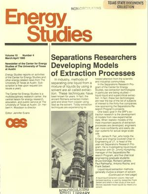 Primary view of object titled 'Energy Studies, Volume 10, Number 4, March/April 1985'.