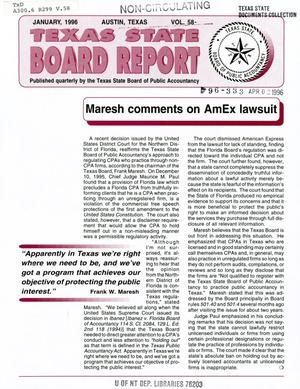 Primary view of Texas State Board Report, Volume 58, January 1996