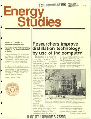 Primary view of object titled 'Energy Studies, Volume 14, Number 2, November/December 1988'.