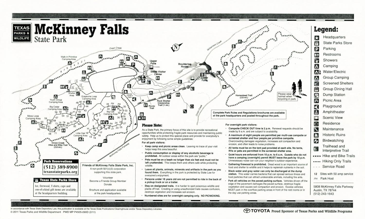 McKinney Falls State Park, Map of the McKinney Falls State Park outlining hiking trails and highlighting activities, facilities, and other features such as bathrooms, lodgings, water/electric, etc. It also contains general information for the park and for the Texas Parks and Wildlife Department.,