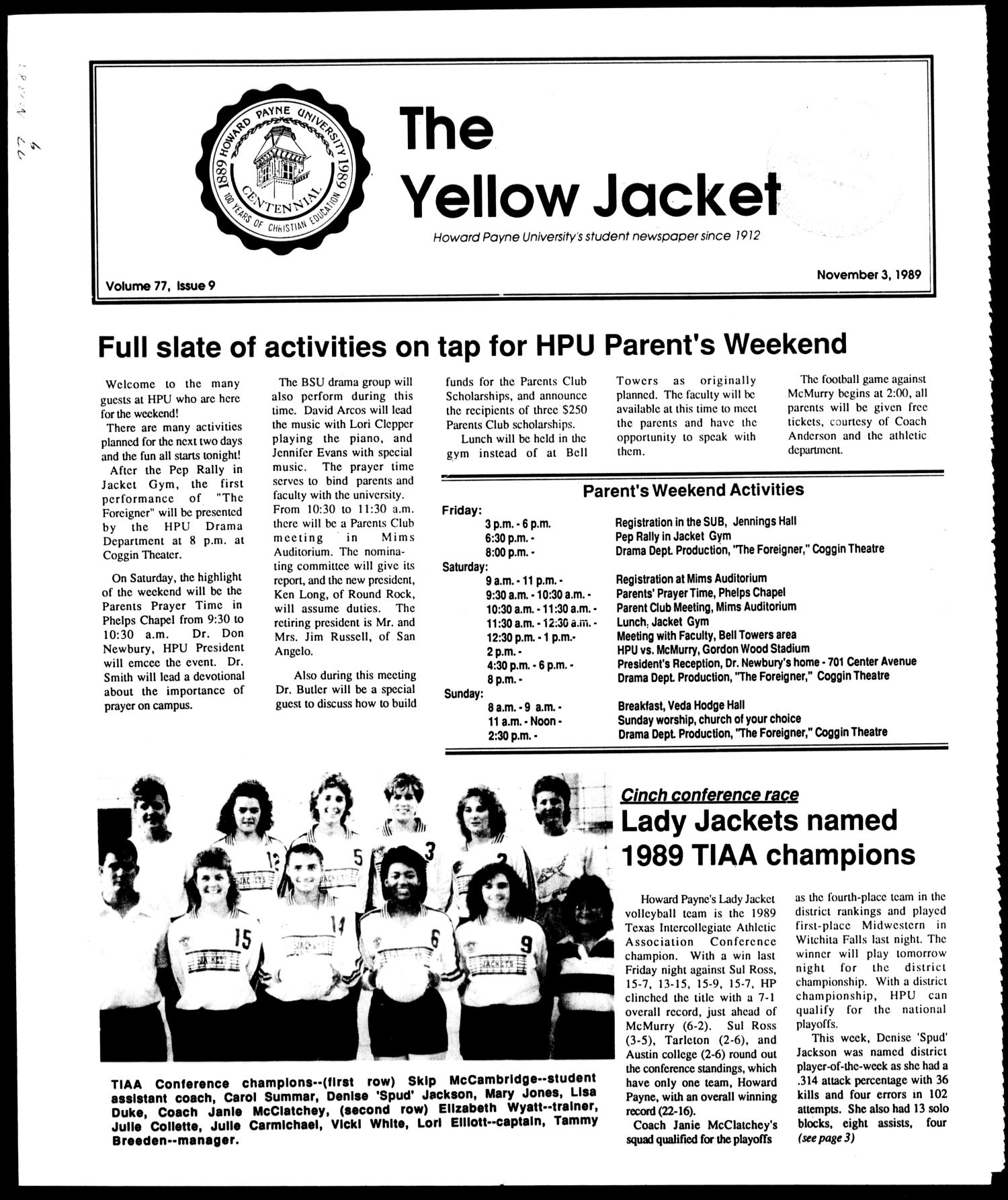 The Yellow Jacket (Brownwood, Tex.), Vol. 77, No. 9, Ed. 1, Friday, November 3, 1989                                                                                                      [Sequence #]: 1 of 4