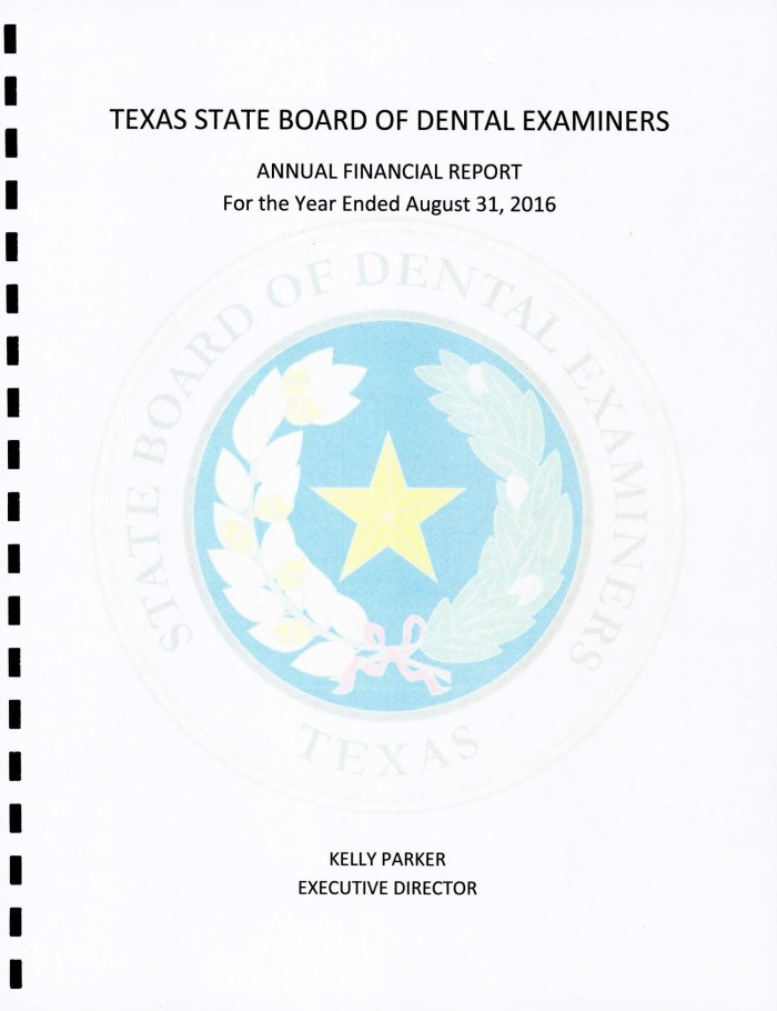 Texas State Board of Dental Examiners Annual Financial