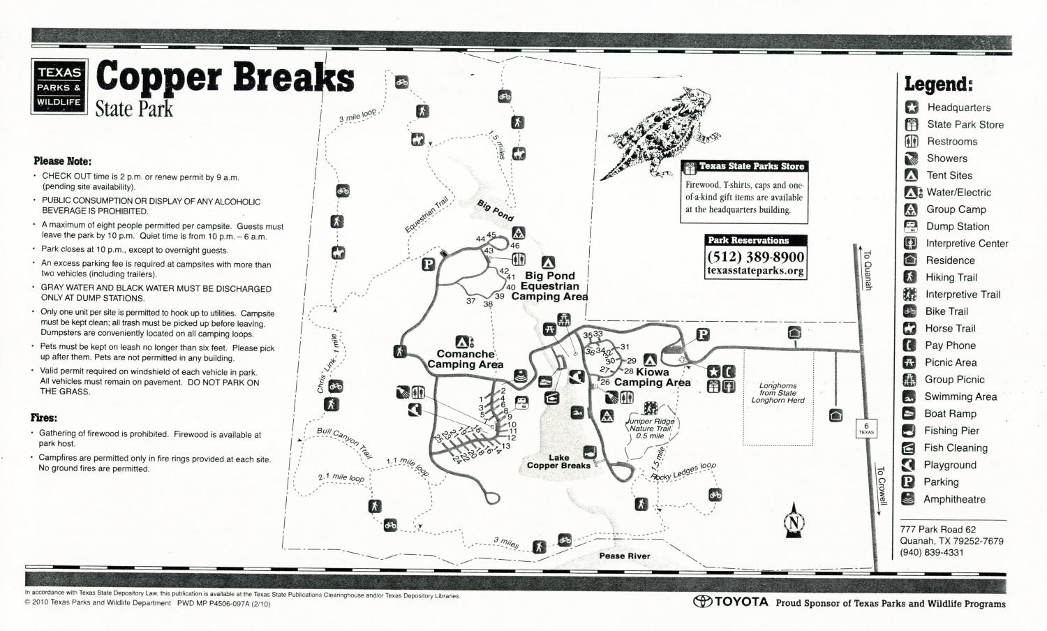 Copper Breaks State Park, Map of the Copper Breaks State Park outlining hiking trails and highlighting activities, facilities, and other features such as bathrooms, lodgings, water/electric, etc. It also contains general information for the park and for the Texas Parks and Wildlife Department.,