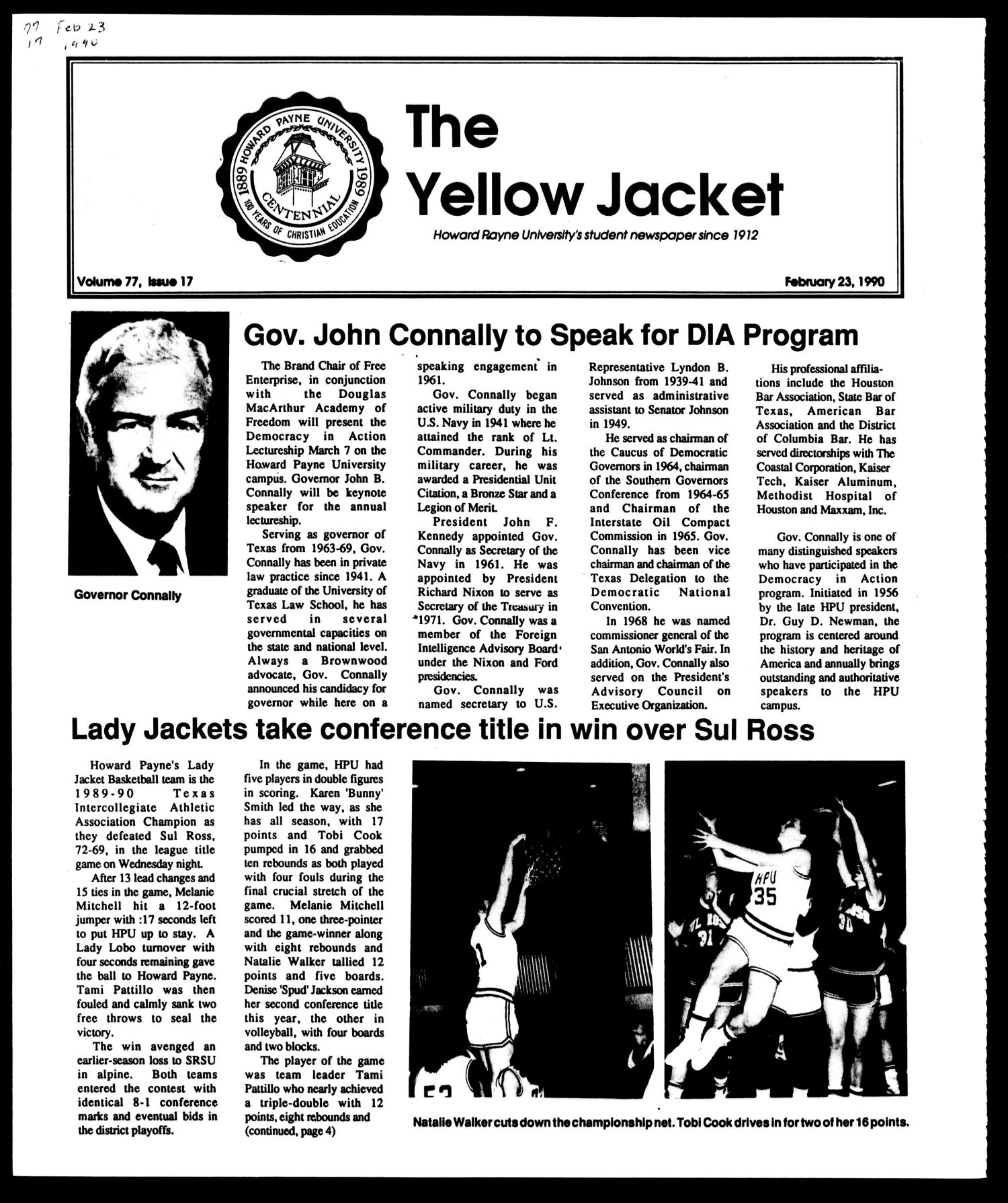 The Yellow Jacket (Brownwood, Tex.), Vol. 77, No. 17, Ed. 1, Friday, February 23, 1990                                                                                                      [Sequence #]: 1 of 4