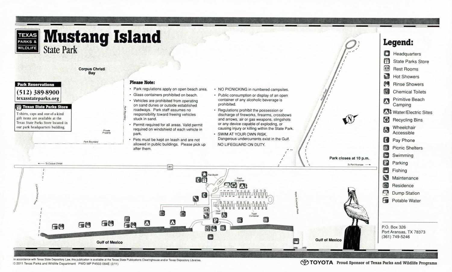Mustang Island State Park, Map of the Mustang Island State Park outlining hiking trails and highlighting activities, facilities, and other features such as bathrooms, lodgings, water/electric, etc. It also contains general information for the park and for the Texas Parks and Wildlife Department.,