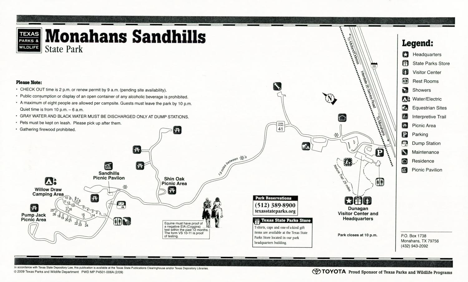 Monahans Sandhills State Park, Map of the Monahans Sandhills State Park outlining hiking trails and highlighting activities, facilities, and other features such as bathrooms, lodgings, water/electric, etc. It also contains general information for the park and for the Texas Parks and Wildlife Department.,