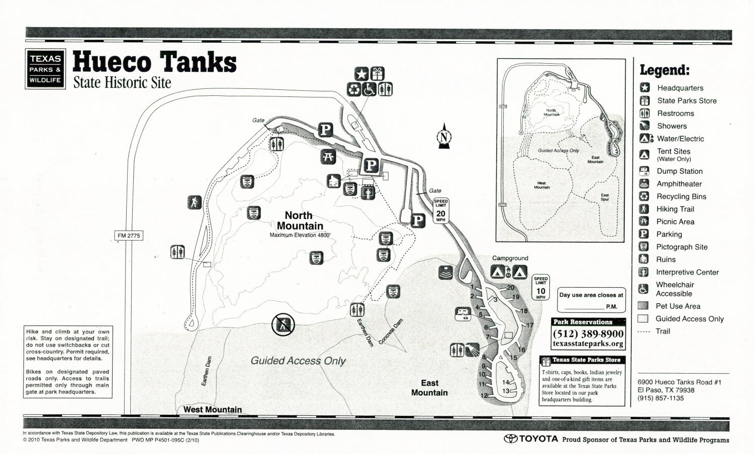 Hueco Tanks State Historic Site, Map of the Hueco Tanks State Historic Site outlining hiking trails and highlighting activities, facilities, and other features such as bathrooms, lodgings, water/electric, etc. It also contains general information for the park and for the Texas Parks and Wildlife Department.,