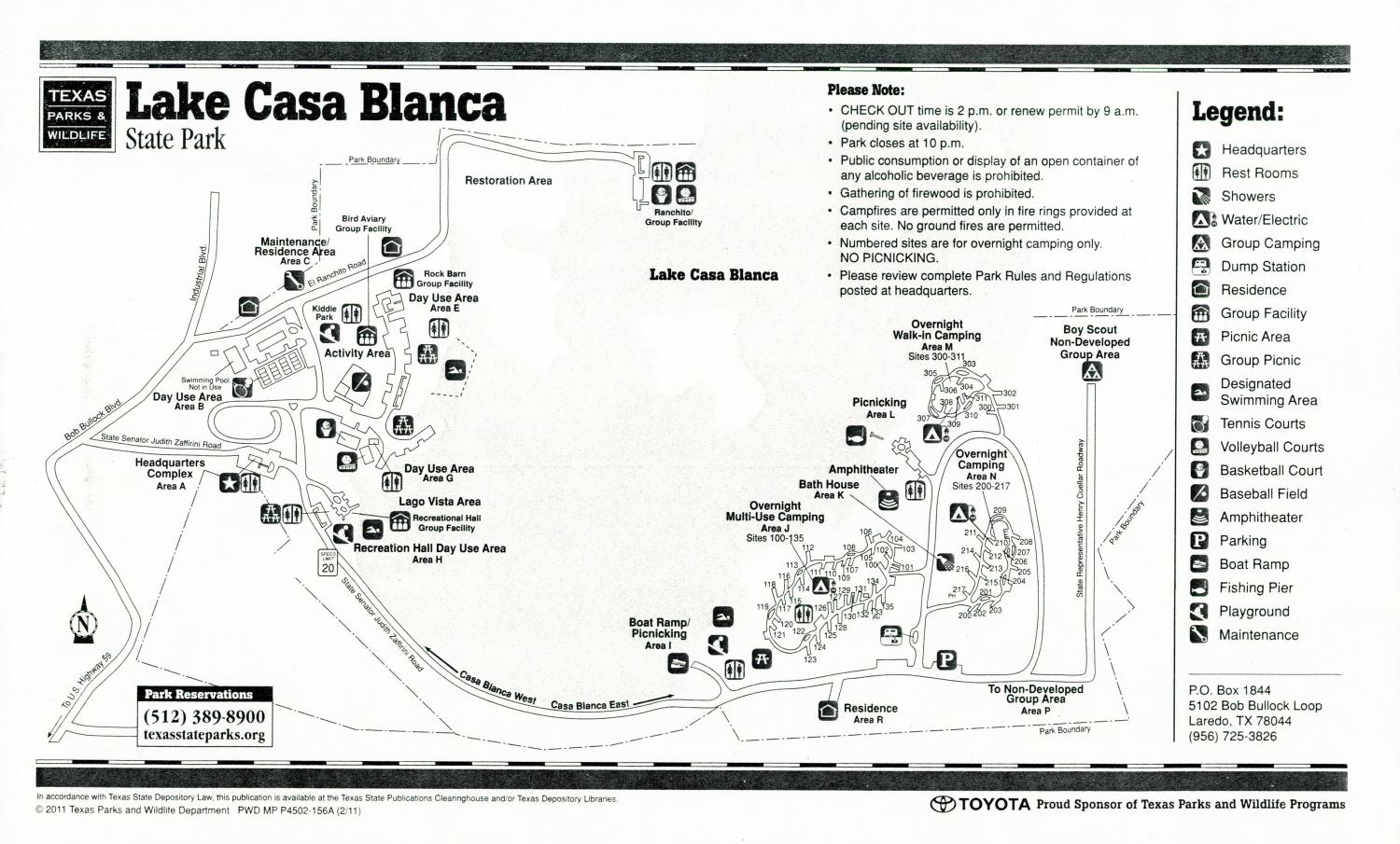 Lake Casa Blanca State Park, Map of the Lake Casa Blanca State Park outlining hiking trails and highlighting activities, facilities, and other features such as bathrooms, lodgings, water/electric, etc. It also contains general information for the park and for the Texas Parks and Wildlife Department. Additionally, there are various advertisements, including one with information about the Texas State Parks Pass.,