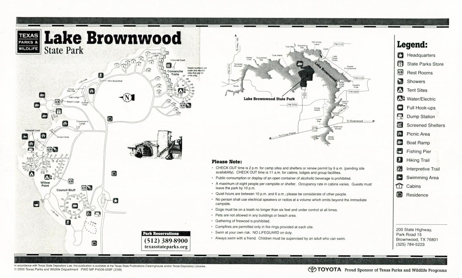 Lake Brownwood State Park, Map of the Lake Bob Sandlin State Park outlining hiking trails and highlighting activities, facilities, and other features such as bathrooms, lodgings, water/electric, etc. It also contains general information for the park and for the Texas Parks and Wildlife Department.,