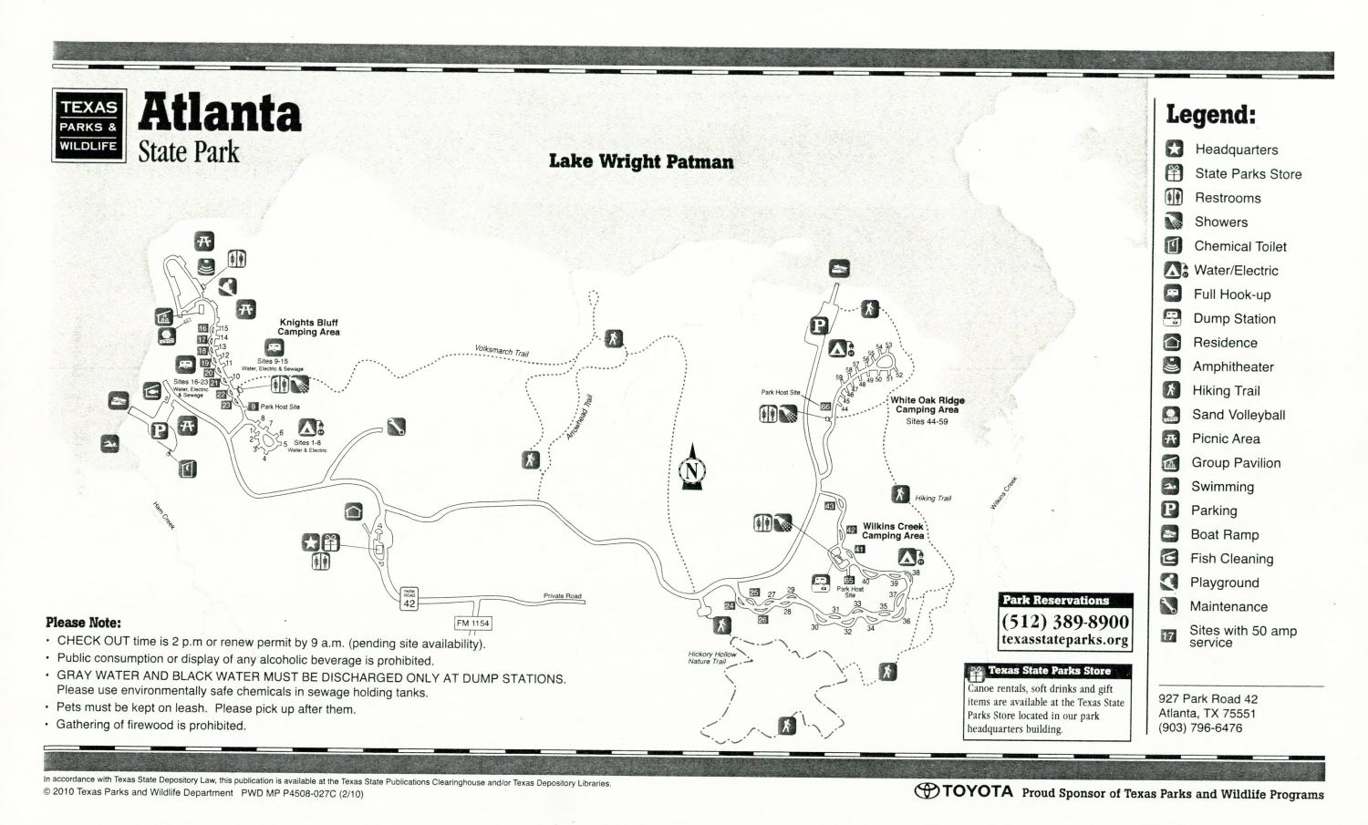Atlanta State Park, Map of the Atlanta State Park outlining hiking trails and highlighting activities, facilities, and other features such as bathrooms, lodgings, water/electric, etc. It also contains general information for the park and for the Texas Parks and Wildlife Department.,